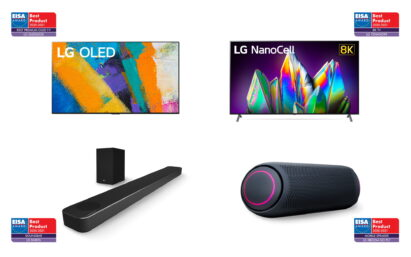 An image displaying LG Home Entertainment's 2020-2021 EISA Best Product Award-winning OLED TV, 8K Nanocell TV, soundbar and LG XBOOM Go PL7