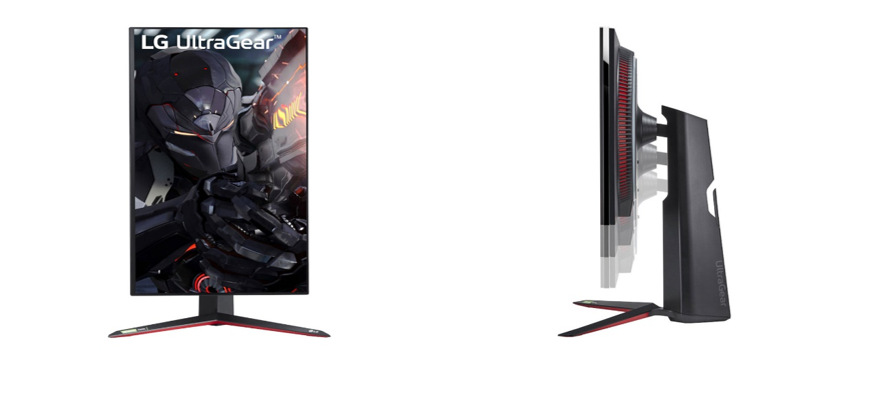 A front view of LG UltraGear in its portrait orientation next to a side view illustrating how the screen can be moved up and down thanks to its stand