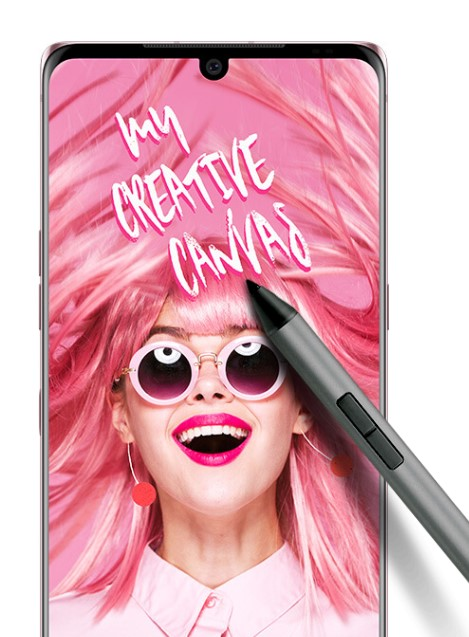 LG VELVET displaying a promotional image featuring a model with overflowing pink hair and the phrase - 'my creative canvas', while its active pen lays on top