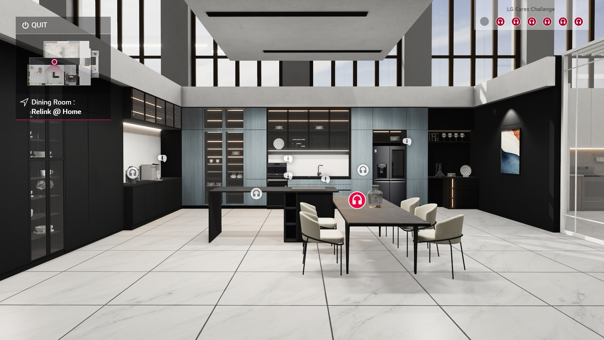 The dining room of the Home Appliance and Air Solution's virtual home, showing more information on LG's InstaView refrigerator, electronic cooktop, PuriCare water purifier and more