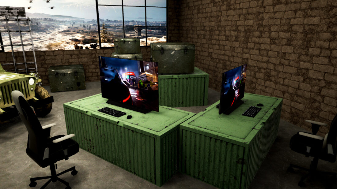 Home Entertainment's virtual Gaming Zone boasting LG's unrivaled displays for gamers in an immersive battlefield setting