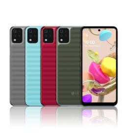 Front and rear view of LG K42 in Gray, Sky Blue, Red and Gray