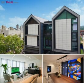 Front view of the LG ThinQ Home in Pangyo with two images below showing off its modern interior and LG devices fitted inside