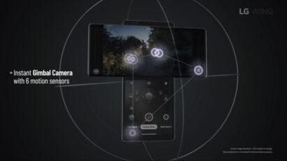 Screenshot of the LG WING product video, displaying LG WING's Gimbal Camera which utilizes 6 motion sensors