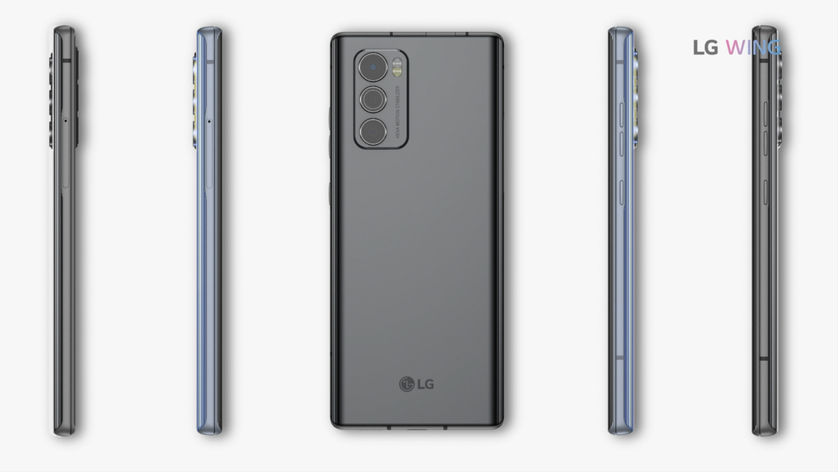 Screenshot of the LG WING product video, displaying the rear and side view of LG WING in Aurora Gray and Illusion Sky