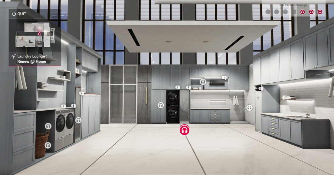 The laundry room of the Home Appliance and Air Solution's virtual home, showing more information on LG's WashTower, TwinWash, Styler, ArtCool air conditioner and more