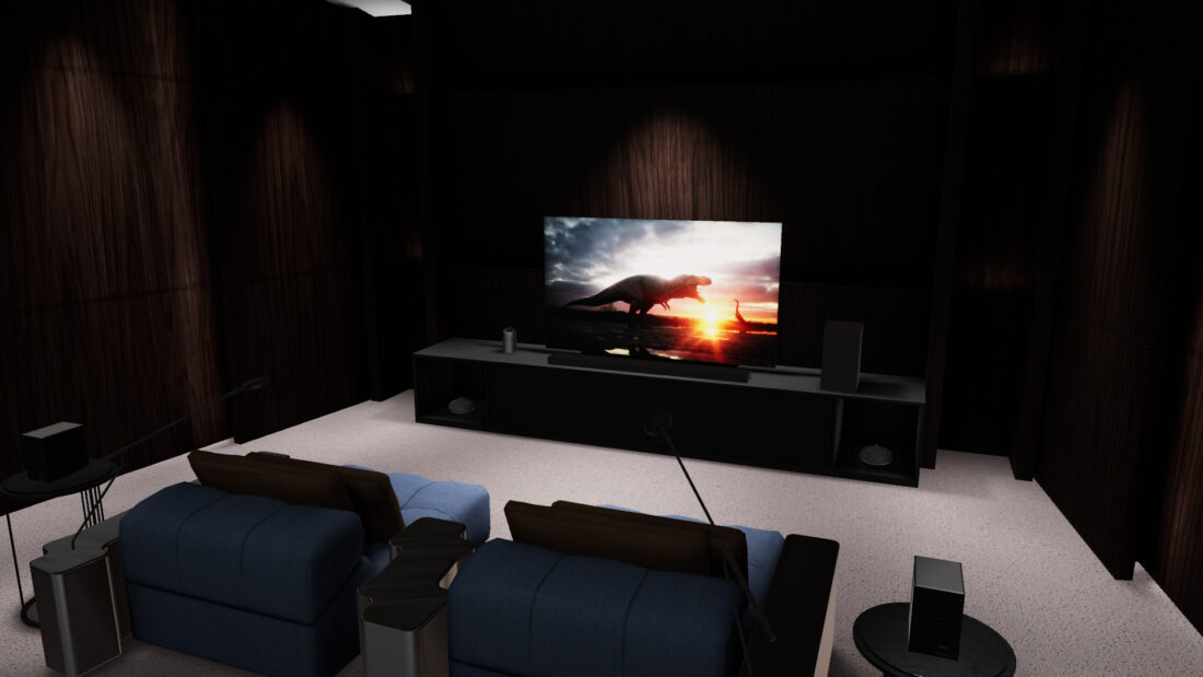 The virtual home cinema setup of the Home Entertainment Zone, which is fitted with LG's latest OLED TV and soundbar to illustrate how the combination creates the most immersive movie viewing experiences to date