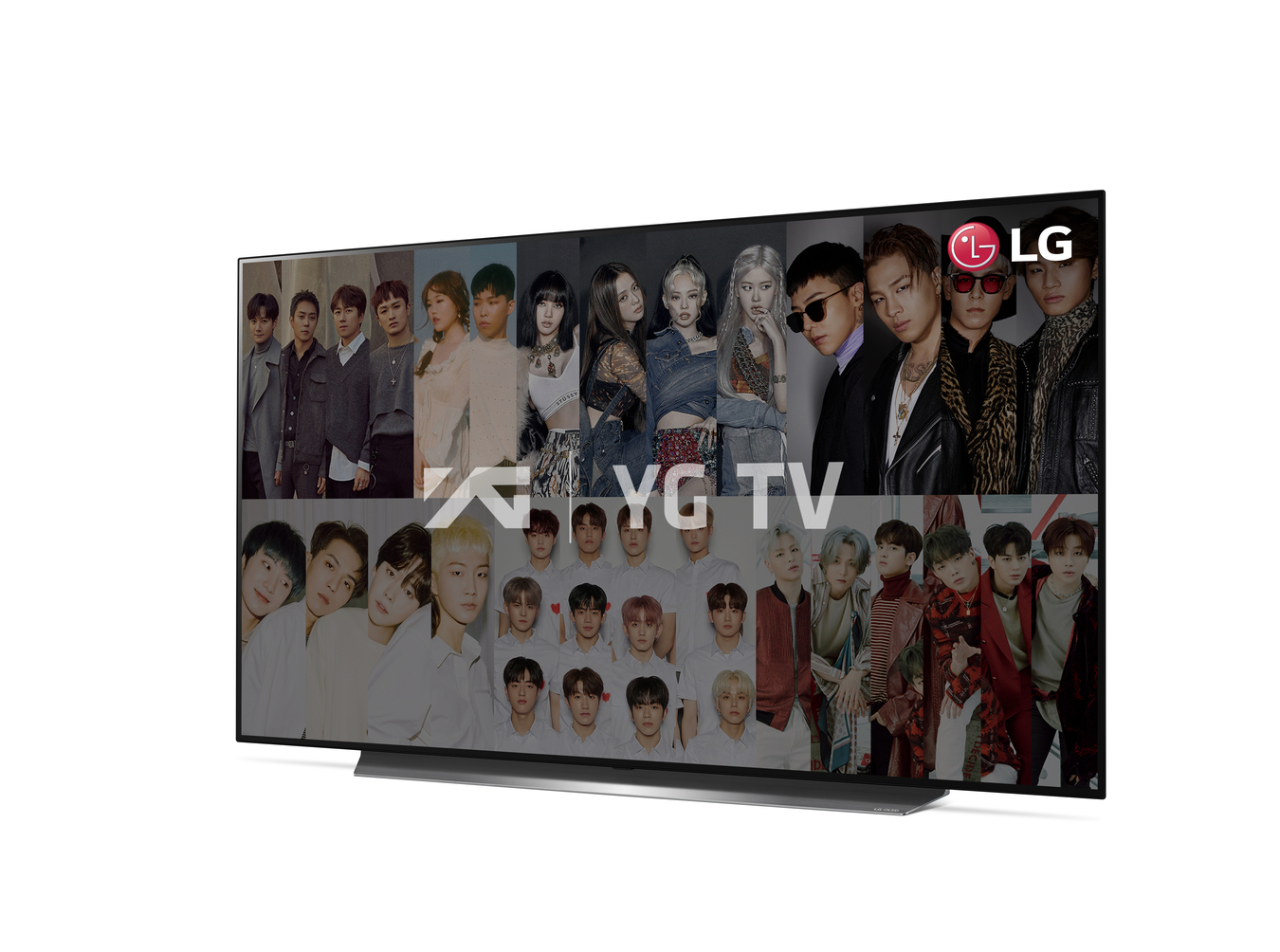 LG Smart TV displaying YG TV stars to celebrate the company's new partnership with New ID that brings its content including YG Entertainment's to LG TVs