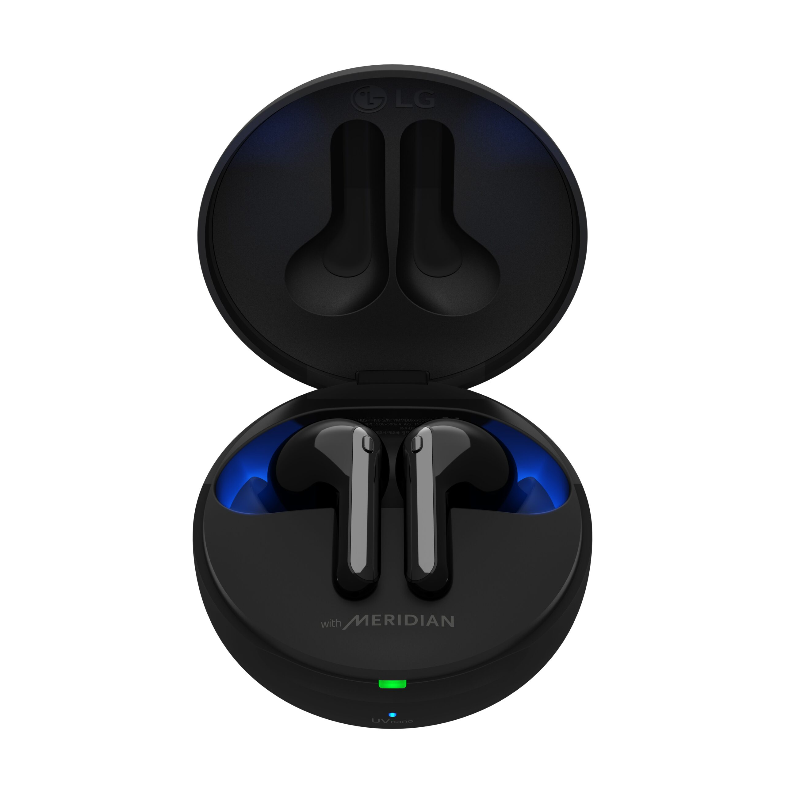 A pair of TONE Free FN7 earbuds in Stylish Black sitting inside its UVnano Charging case, which is emitting a blue light from the top of the case informing charging level and UV nano status