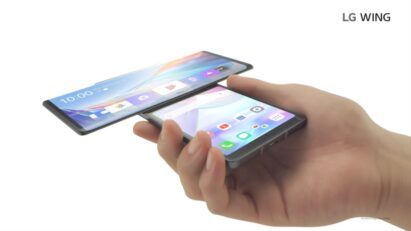 A person holding LG WING in Swivel Mode which makes it useful for multitasking