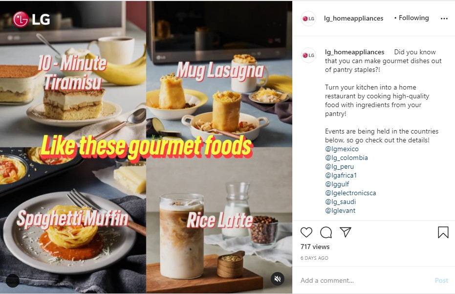 A screenshot of LG Home Appliances' Pantry Dish Challenge post on Instagram which shows four gourmet foods you can make at home