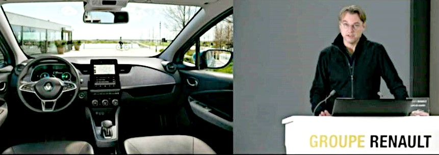 The interior of a Renault vehicles utilizing LG's Center Information Display (CIS) alongside a photo of a Renault spokesperson speaking on stage
