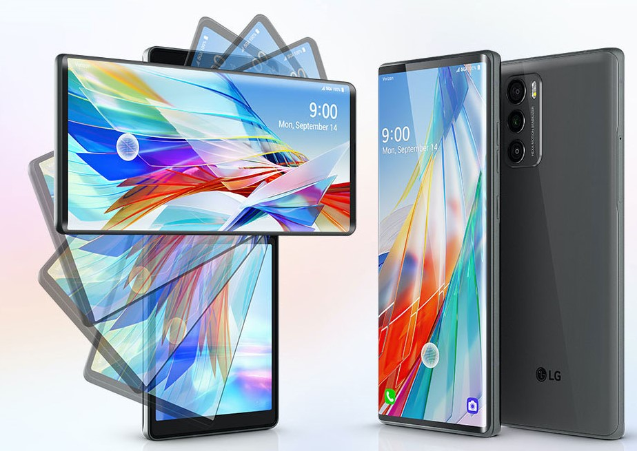 A still image showing the process of LG WING rotating 90 degrees to form two screens, next to a front and rear view of the device in its standard mode
