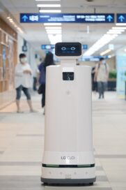 LG CLOi ServeBot standing inside a hospital