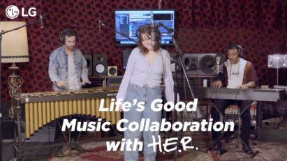 The three winners of LG's Life's Good Music Project in a studio recording a song together