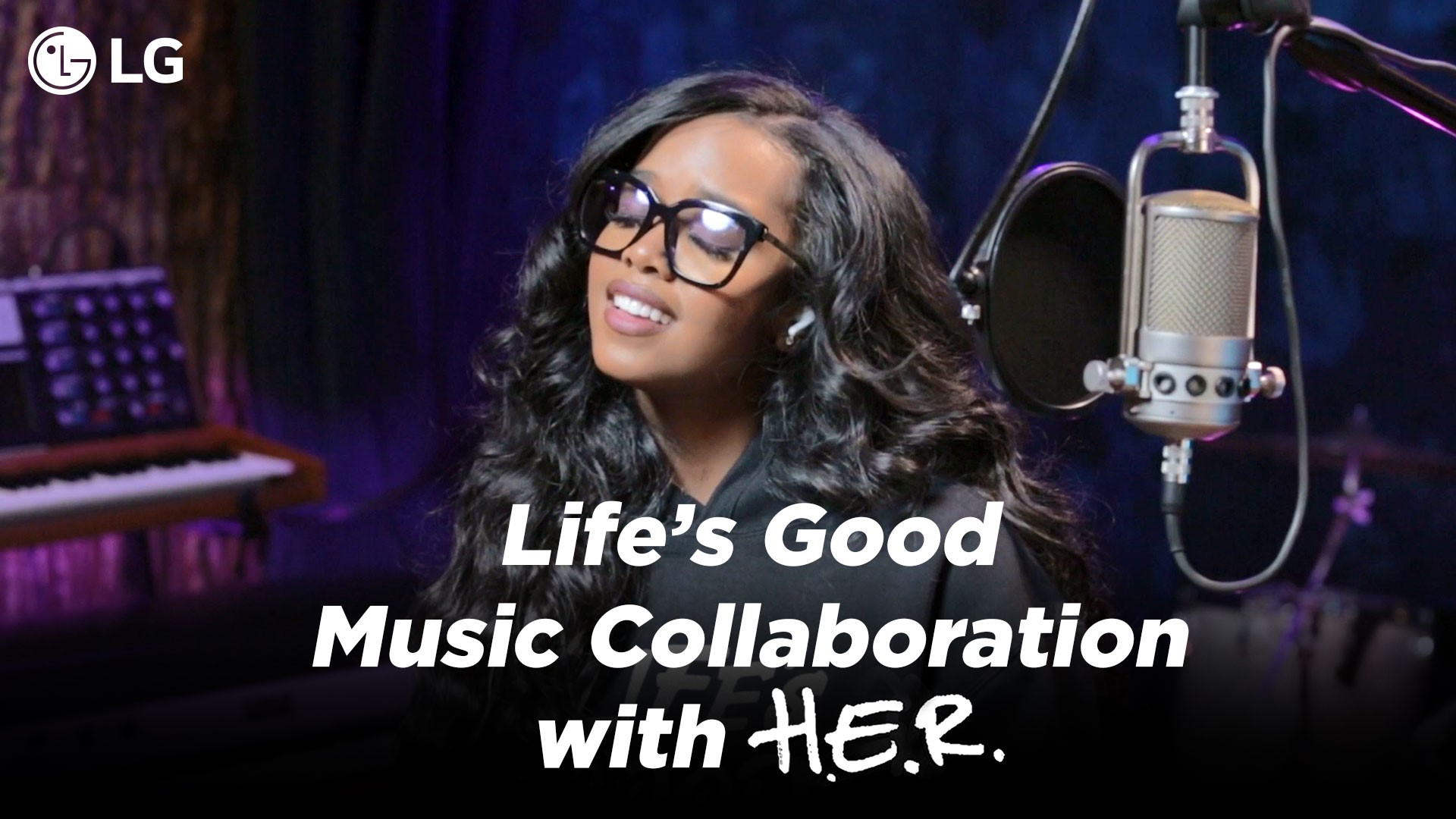 Grammy Award-winning artist H.E.R. singing in the studio for LG's Life's Good Music Project