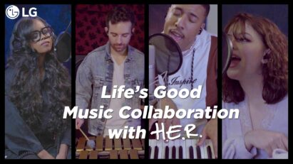 "The four members of LG's Life's Good Music Project singing the lyrics ""Life is still Good"" from their collaborative song"