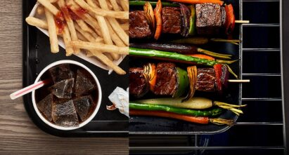 An image comparing a dull fast food meal with a fresh grilled shish kebab mixed with colorful, healthy fruit and vegetables