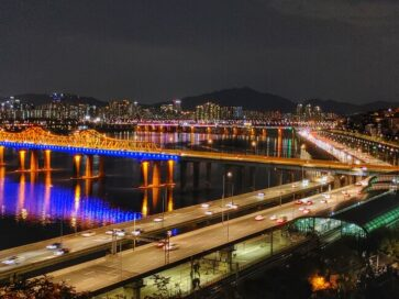 A night view of Seoul's Han River taken by LG WING