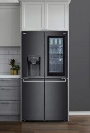 Front view of LG InstaView Door-in-Door refrigerator mounted in the wall