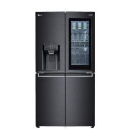 Front view of LG InstaView® Door-in-Door® refrigerator with the water dispenser