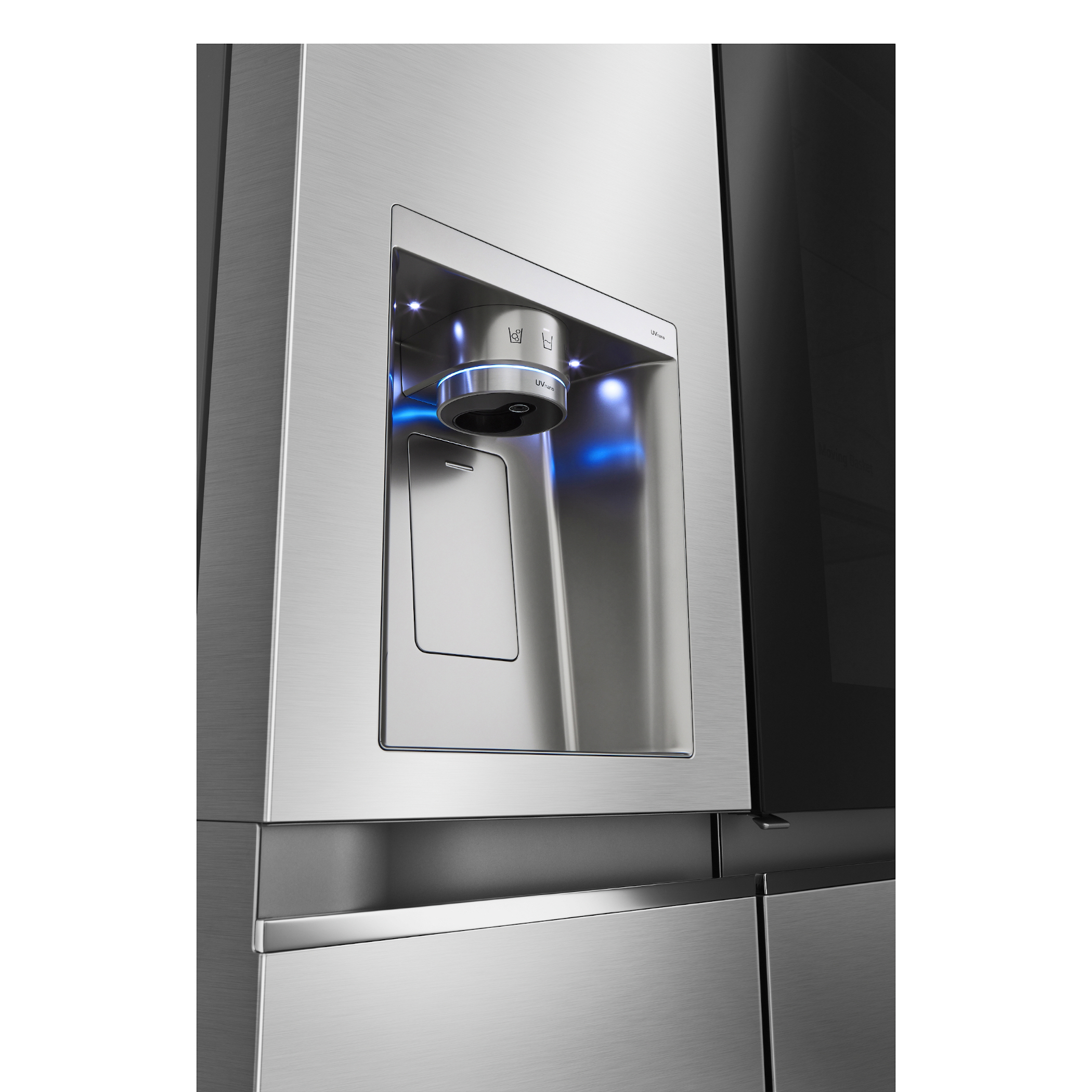 Rear view of water and ice dispenser with UVnano™ technology