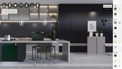 A picture of the virtual showroom to simulate selection of color and finish type of dishwasher, oven and water purifier from LG Furniture Concept Appliance