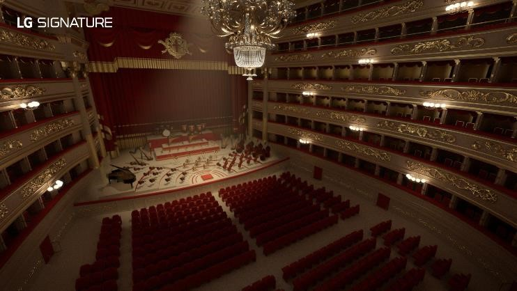 A picture of the stage and empty seating of the La Scala opera house taken from the back of the hall