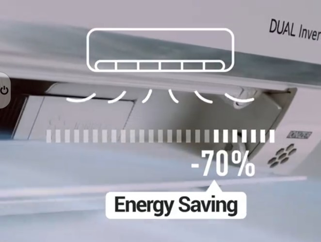 LG's DUAL Inverter Compressor™ Air Conditioner saving up to 70% of energy consumption