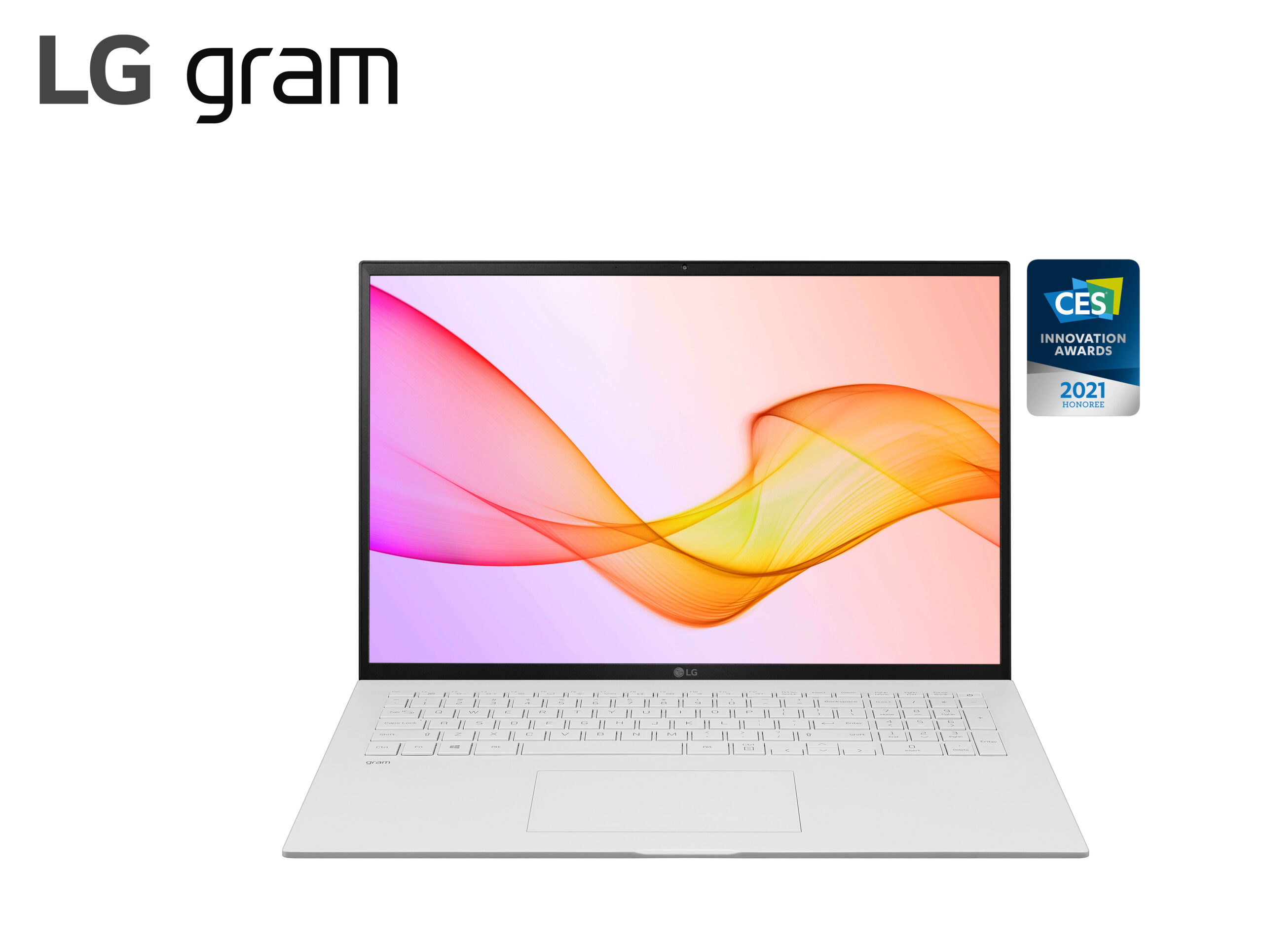LG gram in white with its stylish new design beside the CES 2021 Innovation Awards Honoree logo