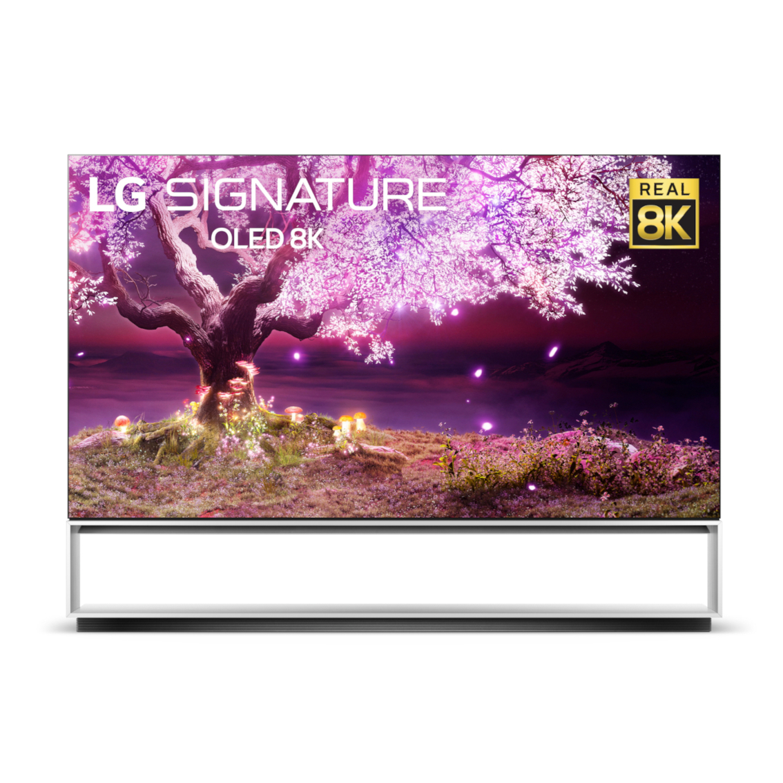 Front view of LG 8K OLED Z1 displaying a tree from fantasy with leaves illuminating bright purple in the night sky to showcase the display's amazing clarity, detail and realism