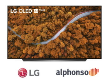 An image of LG OLED TV with a logo of LG and alphonso