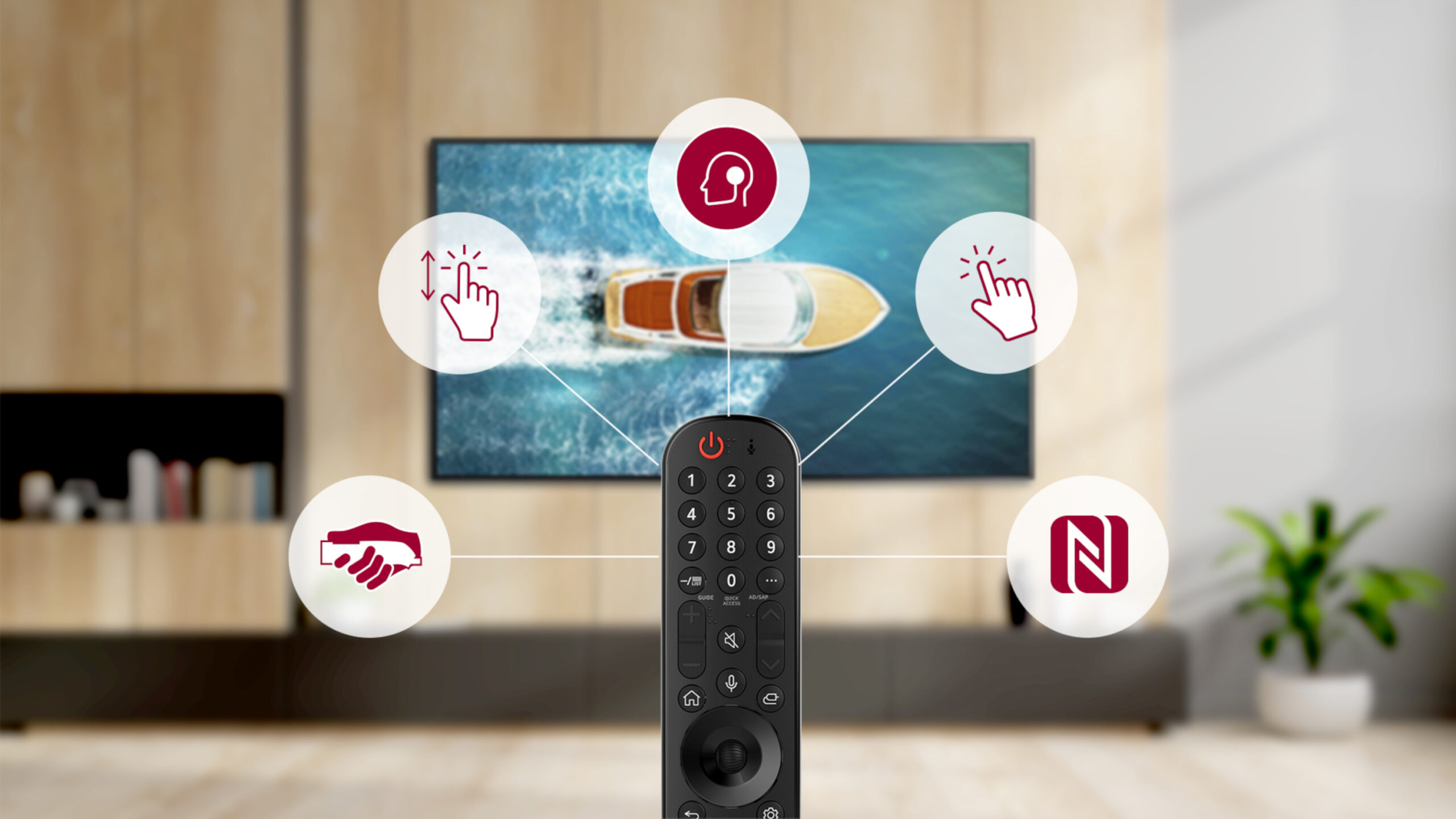 LG's Magic Remote with icons representing its user-friendly functions for quick and intuitive access to LG webOS 6.0, while an LG TV plays in the background.