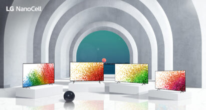 Four TVs from LG's 2021 NanoCell lineup standing side-by-side in large and modern arched hallway