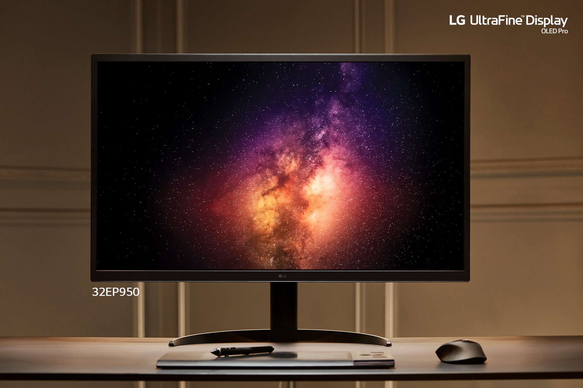 LG's UltraFine Display OLED Pro (model 32EP950) displaying the galaxy in incredible detail and vibrant colors.