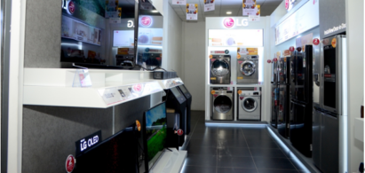 A photo of LG's second e-Showroom of Kenya in Nanyuki, featuring various LG products.