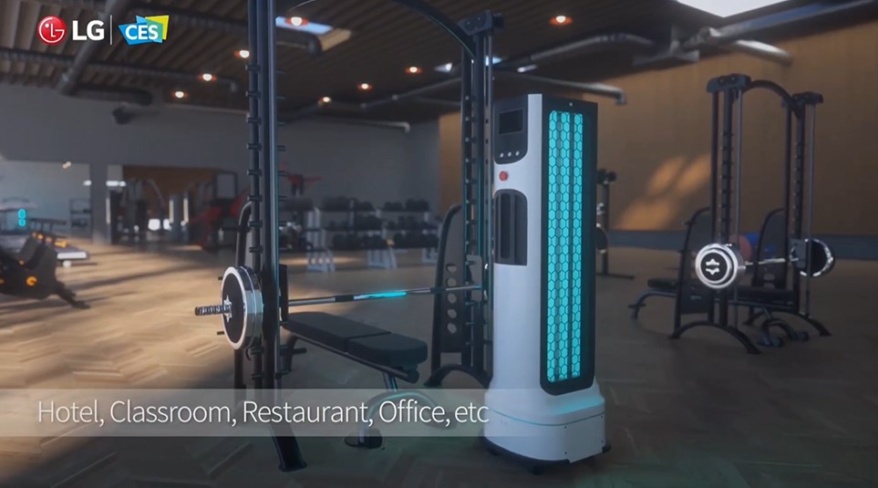 LG CLOi UV Robot cleaning and disinfecting a gym so that its members can continue working out safely.