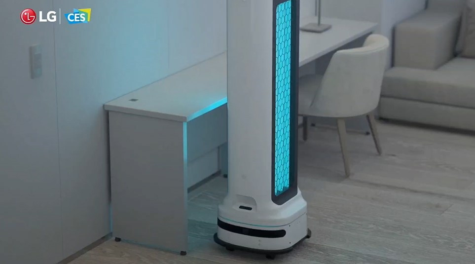 A close-up of LG CLOi UV Robot working in a home.