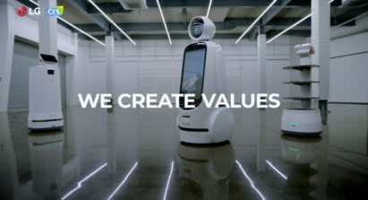 A picture of the three different LG CLOi robots gathered with the phrase 'we create values' overlapping.