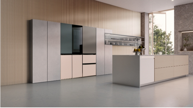 A photo of an expansive kitchen boating luxurious LG Furniture Concept Appliances to enhance the atmosphere of the modern space.