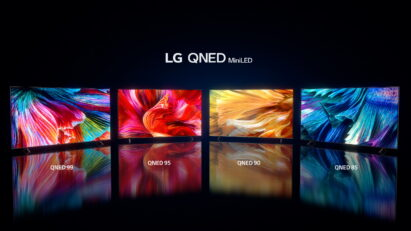 Four different OLED TV models from the LG 2021 TV lineup showcased in a dark room