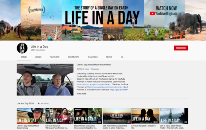 A screenshot of the 'Life in a Day' YouTube page showing the channel's various uploaded videos.