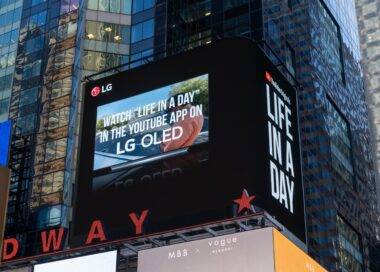 A photo of LG's expansive digital billboard in Time Squares featuring a clip from the YouTube Originals series, 'Life in a Day.'