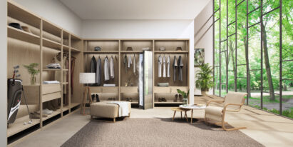 LG Styler adding a touch of elegance to an open walk-in closet.