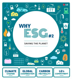 The title page of the 'WHY ESG' graphic news article with a preview of the stories to follow shown as keywords below.