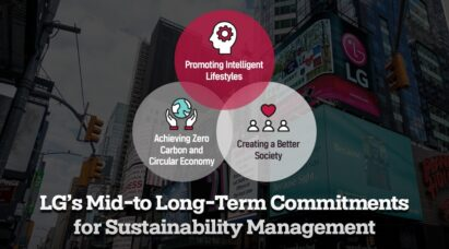 A picture stating LG's main commitments for sustainability management, with LG's giant Times Square screen displaying the company logo in the background.
