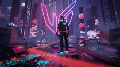 The winning entry of LG's art contest which places the UltraGear logo in the middle of a futuristic city setting with vibrant neon colors and a video game character standing in the foreground.