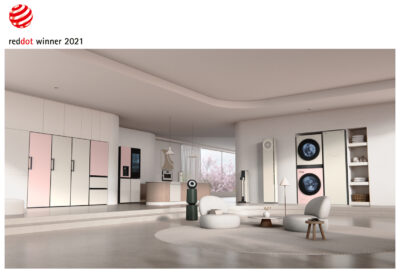 LG's collection of Red Dot Award-winning home appliances including its air conditioner, Styler, refrigerator and more are displayed in a modern, spacious living room to give the space a greater sense of style.