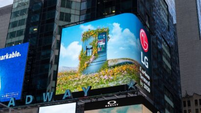LG's Earth Day video highlighting its green initiatives and goal of carbon neutrality playing in Times Square, New York City