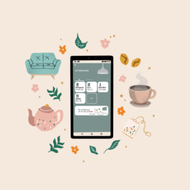 An illustration of a smartphone displaying the ThinQ app connected to four LG appliances, with pictures of a sofa, a cup of coffee and a teapot to bring a sense of comfort and relaxation to the image